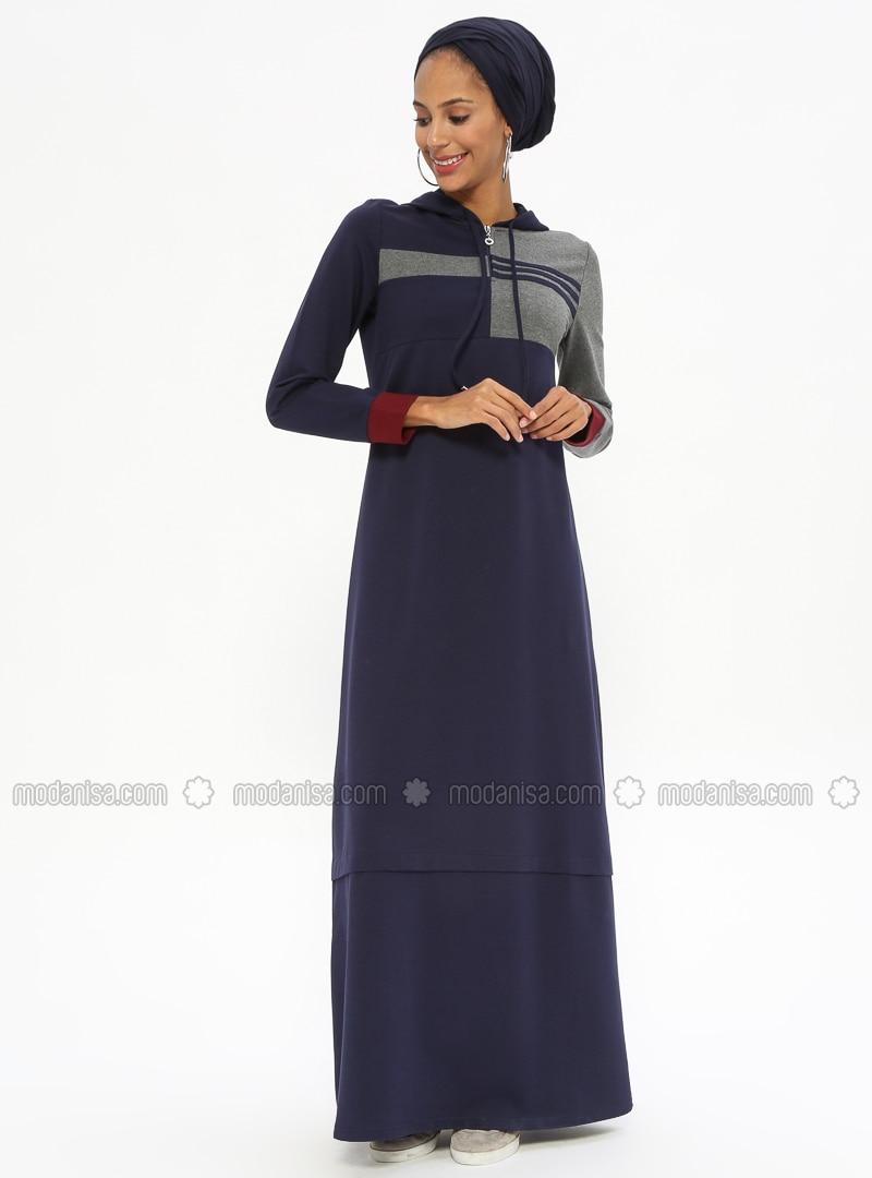 Navy Blue - Unlined - Cotton - Dresses