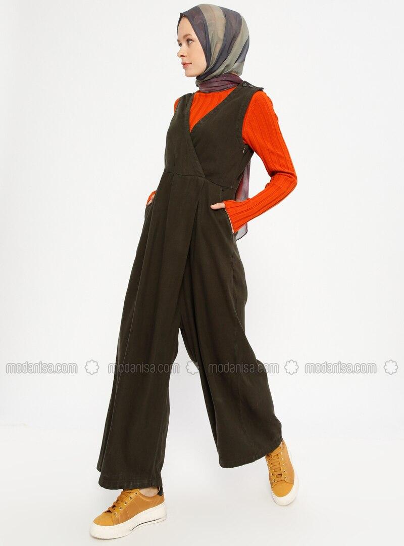 Khaki - Unlined - V neck Collar - Cotton - Jumpsuit
