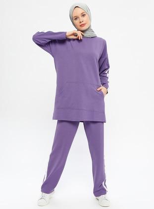 Purple - Cotton - Crew neck - Tracksuit Set