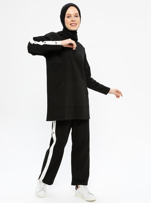 Black - Cotton - Crew neck - Tracksuit Set