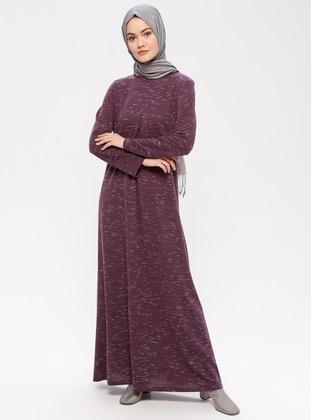 Purple - Crew neck - Unlined - Dresses