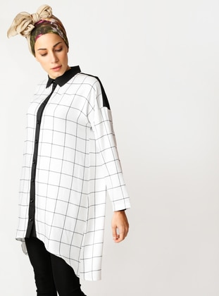 Black - White - Checkered - Point Collar - Viscose - Tunic