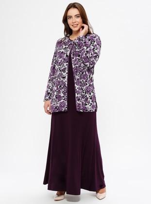 Plum - Floral - Crew neck - Unlined - Plus Size Evening Suit