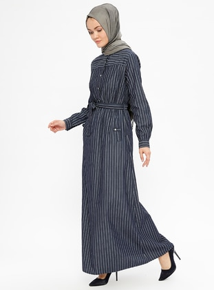 Navy Blue - Stripe - Crew neck - Unlined - Dresses