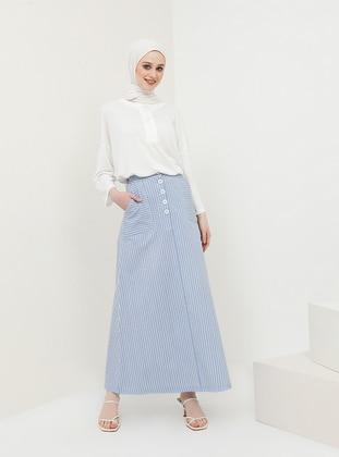 White - Stripe - Unlined - Cotton - Skirt