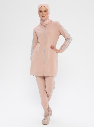 Dusty Rose - Cotton - Polo neck - Tracksuit Set