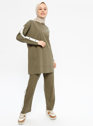Khaki - Cotton - Crew neck - Tracksuit Set