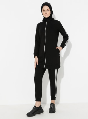 Black - Cotton - Tracksuit Set - Marwella
