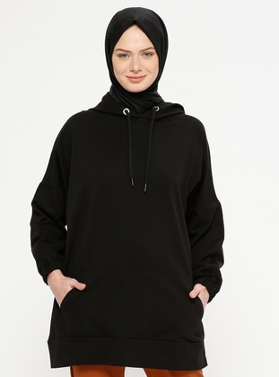 Black - Cotton - Tracksuit Top - Marwella