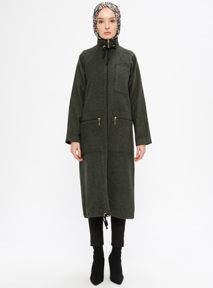 Khaki - Unlined - Polo neck - Acrylic - Topcoat