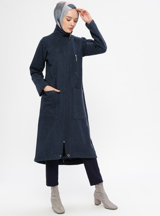 Navy Blue - Unlined - Point Collar - Topcoat