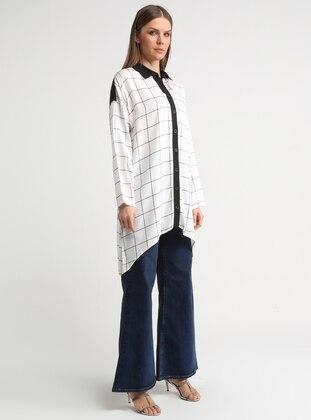 Black - White - Checkered - Point Collar - Viscose - Tunic