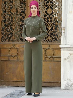 Khaki - Fully Lined - Crepe - Jumpsuit