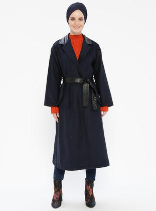 Navy Blue - Unlined - Cotton - Topcoat
