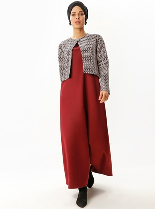 Maroon - Multi - Unlined - Suit - Meys