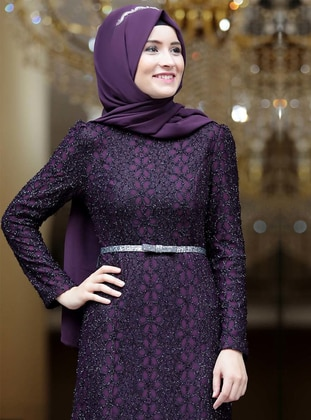 Plum - Fully Lined - Crew neck - Muslim Evening Dress - Amine Hüma