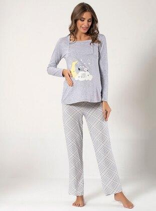 Gray - Sweatheart Neckline - Multi - Cotton - Pyjama