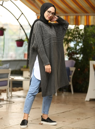 Anthracite - Crew neck - Unlined -  - Poncho