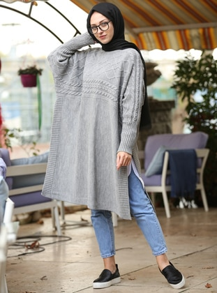 Gray - Crew neck - Unlined -  - Poncho - İnşirah