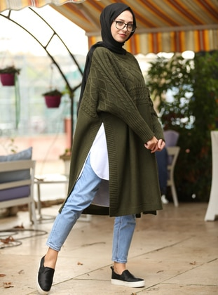 Khaki - Crew neck - Unlined -  - Poncho