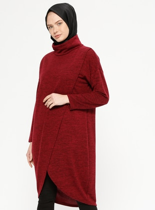 Maroon - Polo neck -  - Tunic