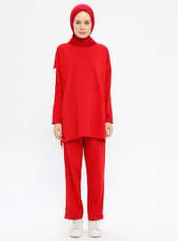 Red - Cotton - Crew neck - Tracksuit Set