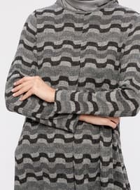 Black - Gray - Stripe - Crew neck -  - Tunic