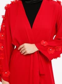 Maroon - Unlined - V neck Collar - Abaya