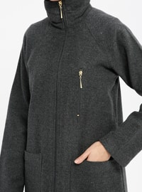 Gray - Smoke-coloured - Unlined - Point Collar - Topcoat