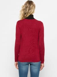 Red - Crew neck - Cardigan