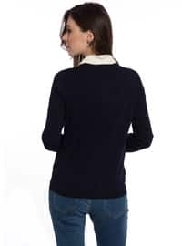 Navy Blue - Crew neck - Cardigan