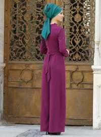 Plum - Fully Lined - Crepe - Jumpsuit