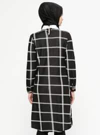 Black - Checkered - Round Collar - Tunic