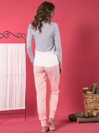 Gray - Crew neck - Multi - Cotton - Pyjama