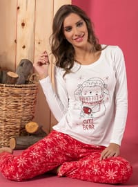 Ecru - Crew neck - Multi - Cotton - Pyjama