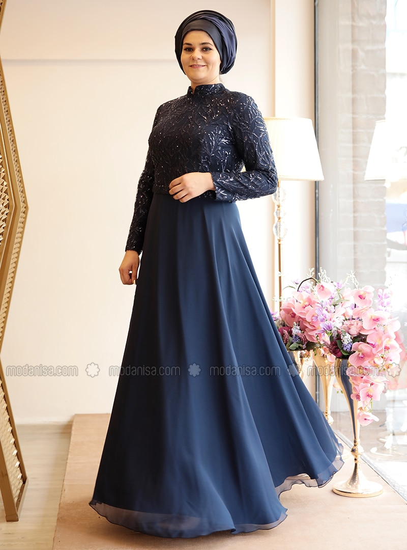 657eeed4f6d Navy Blue - Fully Lined - Crew neck - Muslim Plus Size Evening Dress