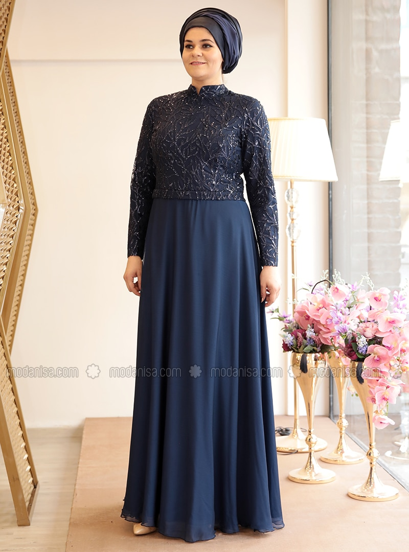 f58ece20133 Navy Blue - Fully Lined - Crew neck - Muslim Plus Size Evening Dress