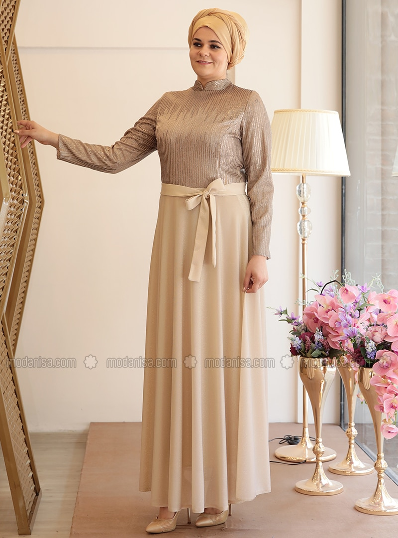 Golden tone - Fully Lined - Crew neck - Muslim Plus Size Evening Dress