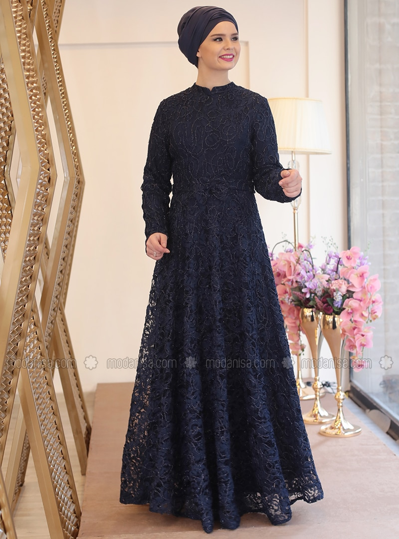 Navy Blue Fully Lined Crew Neck Muslim Plus Size Evening Dress