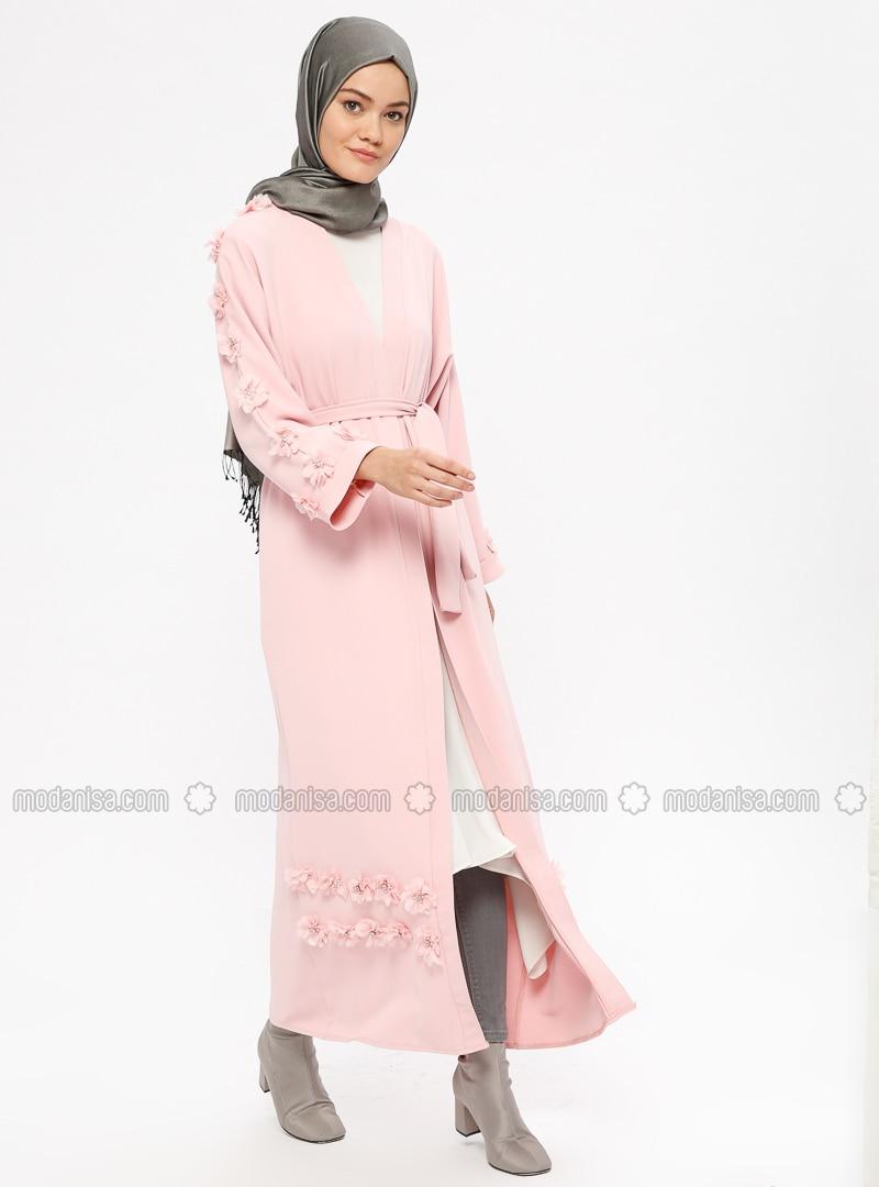 Powder - Unlined - V neck Collar - Abaya