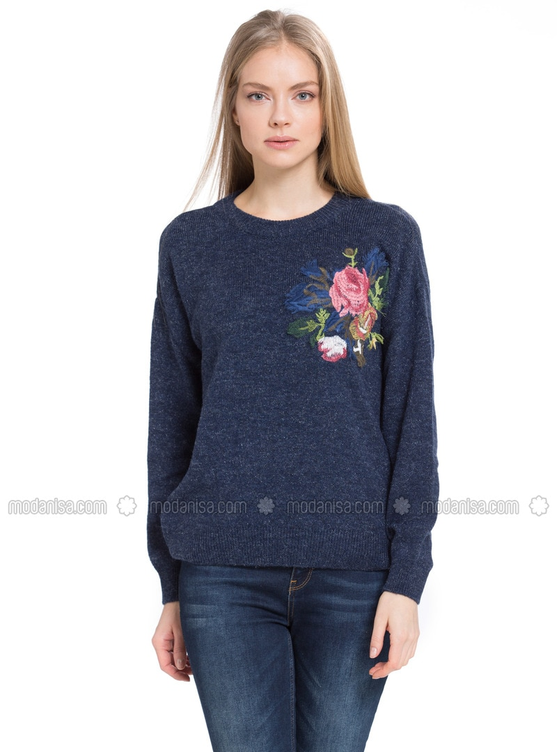 Navy Blue - Crew neck - Jumper