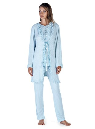 Blue - Crew neck - Cotton - Viscose - Pyjama