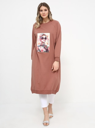 Salmon - Crew neck - Cotton - Plus Size Tunic