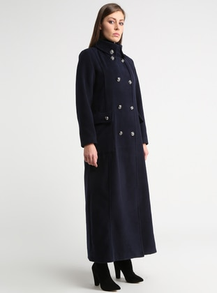 Navy Blue - Unlined - Point Collar - Coat