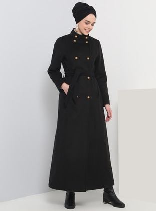 Black - Fully Lined - Button Collar - Coat - Benin