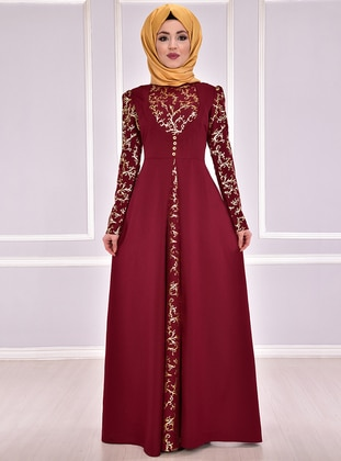 ed4db6f040 Maroon - Crew neck - Unlined - Dresses · AYŞE MELEK TASARIM · Evening Dress  - Maroon