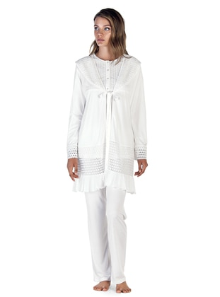 Ecru - Crew neck - Cotton - Viscose - Pyjama
