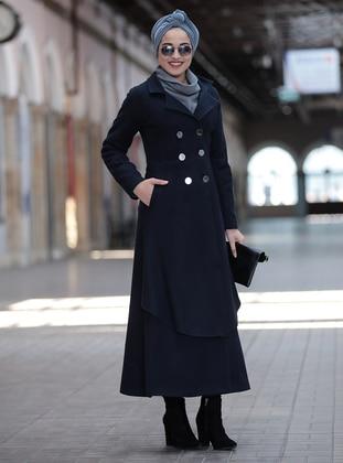 Navy Blue - Shawl Collar - Coat