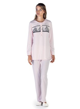 Salmon - Crew neck - Cotton - Viscose - Pyjama