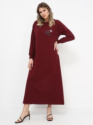 Maroon - Unlined - Crew neck - Cotton - Plus Size Dress